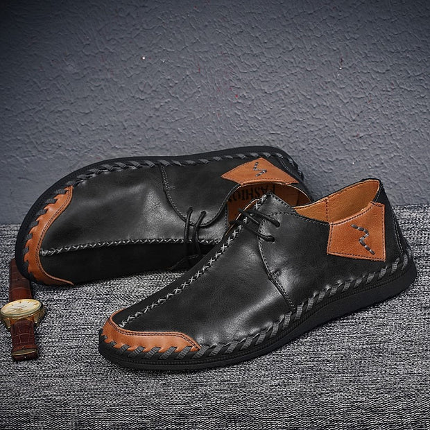 Man's vintage fashion joker leather flat leisure loafers