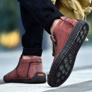 Man's leather stylish vintage fashion joker leisure flat shoes