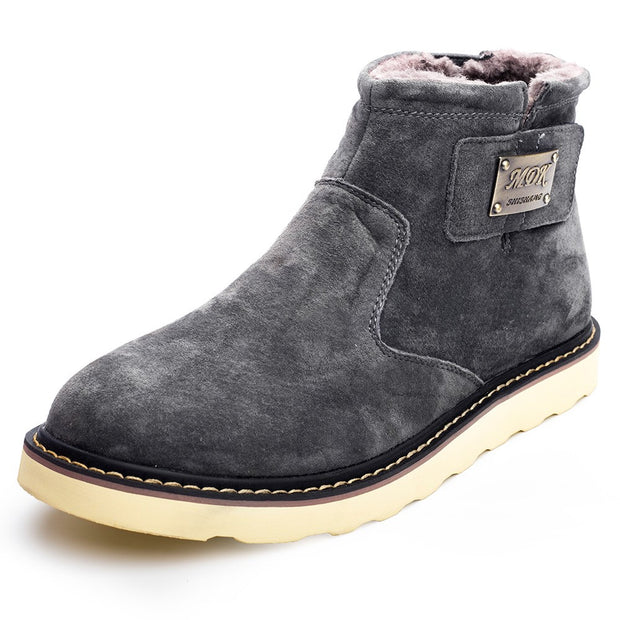 Man's suede winter thermal villi platform comfortable snow boots