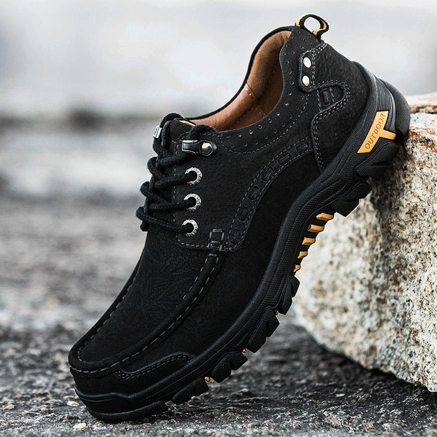Man's cool joker leather stable comfortable anti-skid hiking sneakers