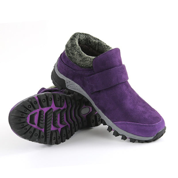Women's winter thermal suede slip resistant slip-on hiking shoes