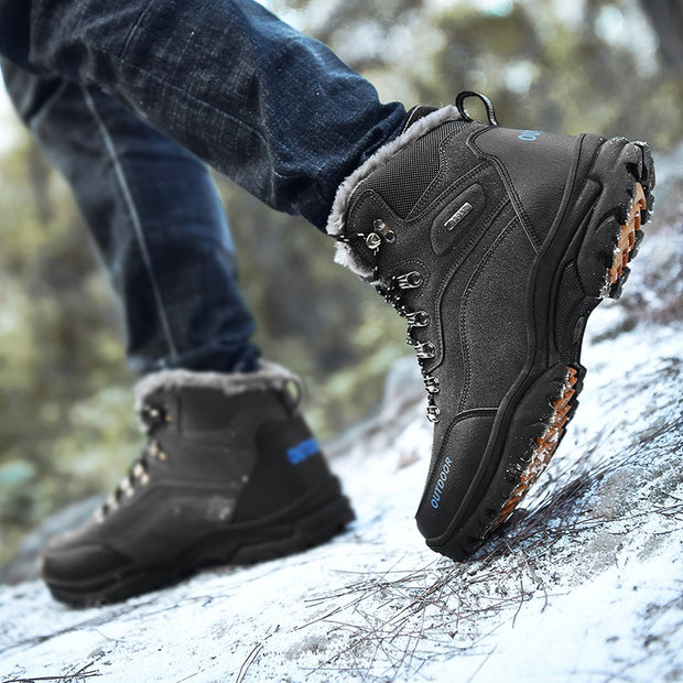 Man's winter velvet thermal slip resistant stylish fashion joker snow boots