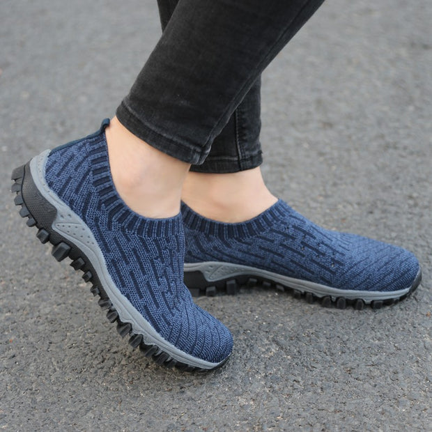 Women's linen fabric breathable elastic slip resistant casual sneakers