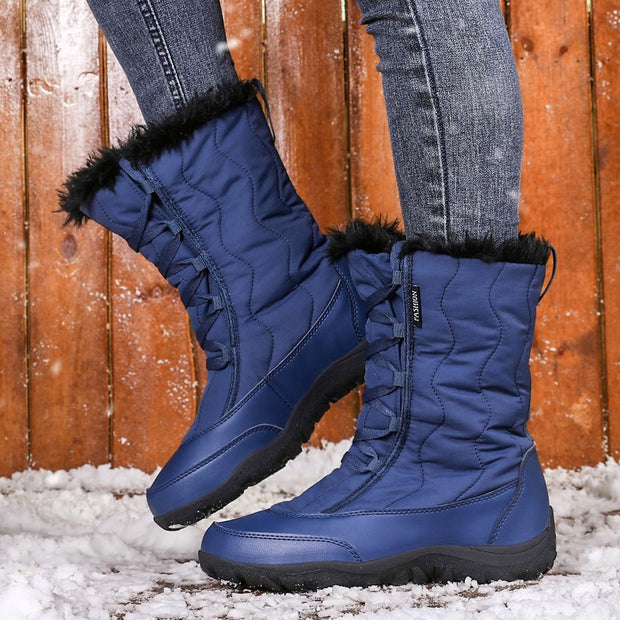 Women's winter velvet thermal platform non-slip snow boots
