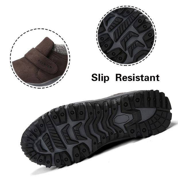 Man's winter thermal velvet suede slip resistant comfortable velcro slip-on leisure loafers
