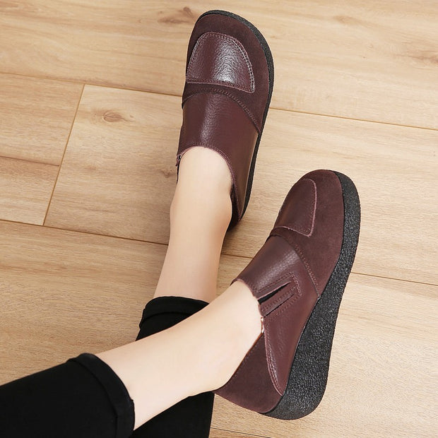 Women's leather classic elegant high platform slip-on casual shoes