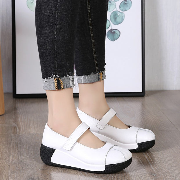 Women's leather street wedge slip-on leisure shoes
