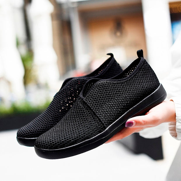 Women's breathable flat slip-on leisure tennis sneakers
