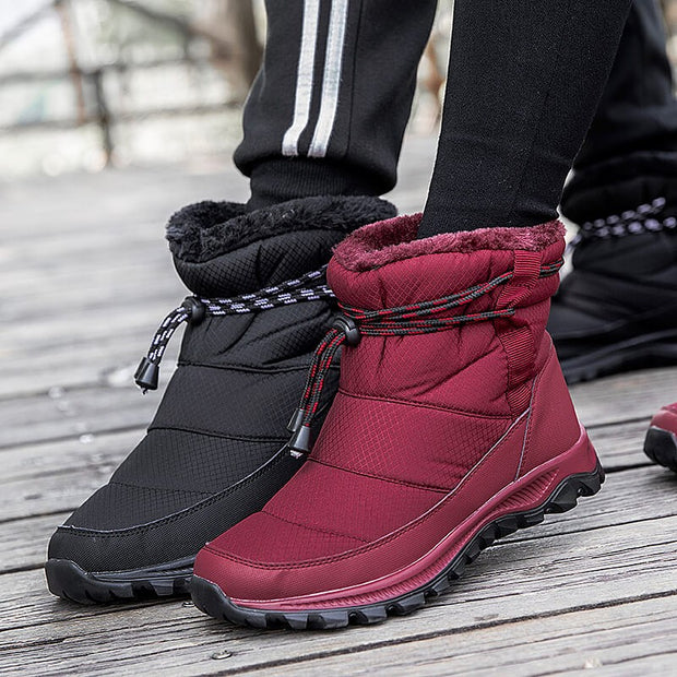 winter warm comfortable villi flat slip-on high top shoes