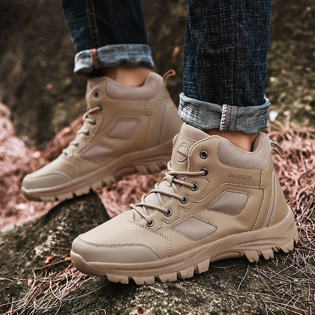 men's cool fashion outdoor sli-resistant leather high-top shoes