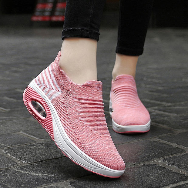 women's elastic stretchable lightweight breathable leisure running shoes