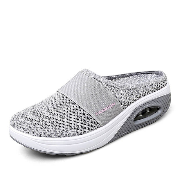 Women's breathable lightweight air cushion slip-on walking slippers