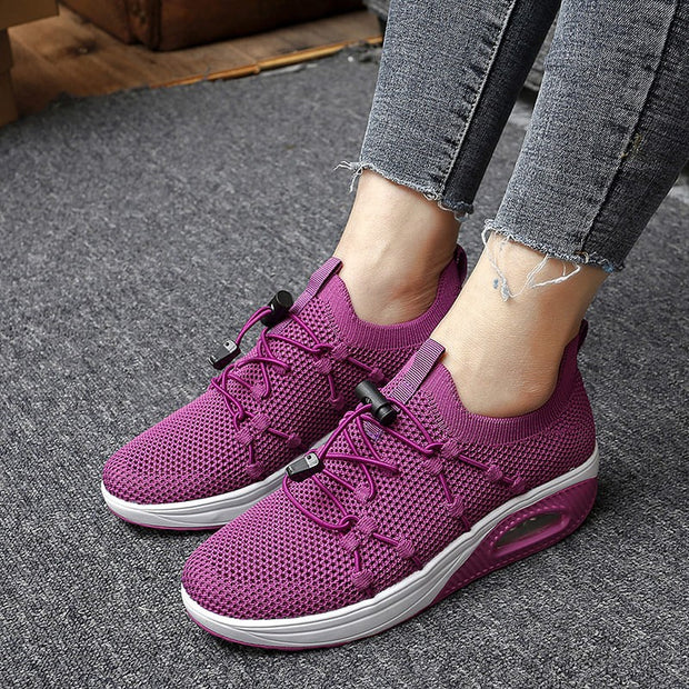 Women's Knitting Breathable Air Cushion Bouncy Stretchable Running Shoes