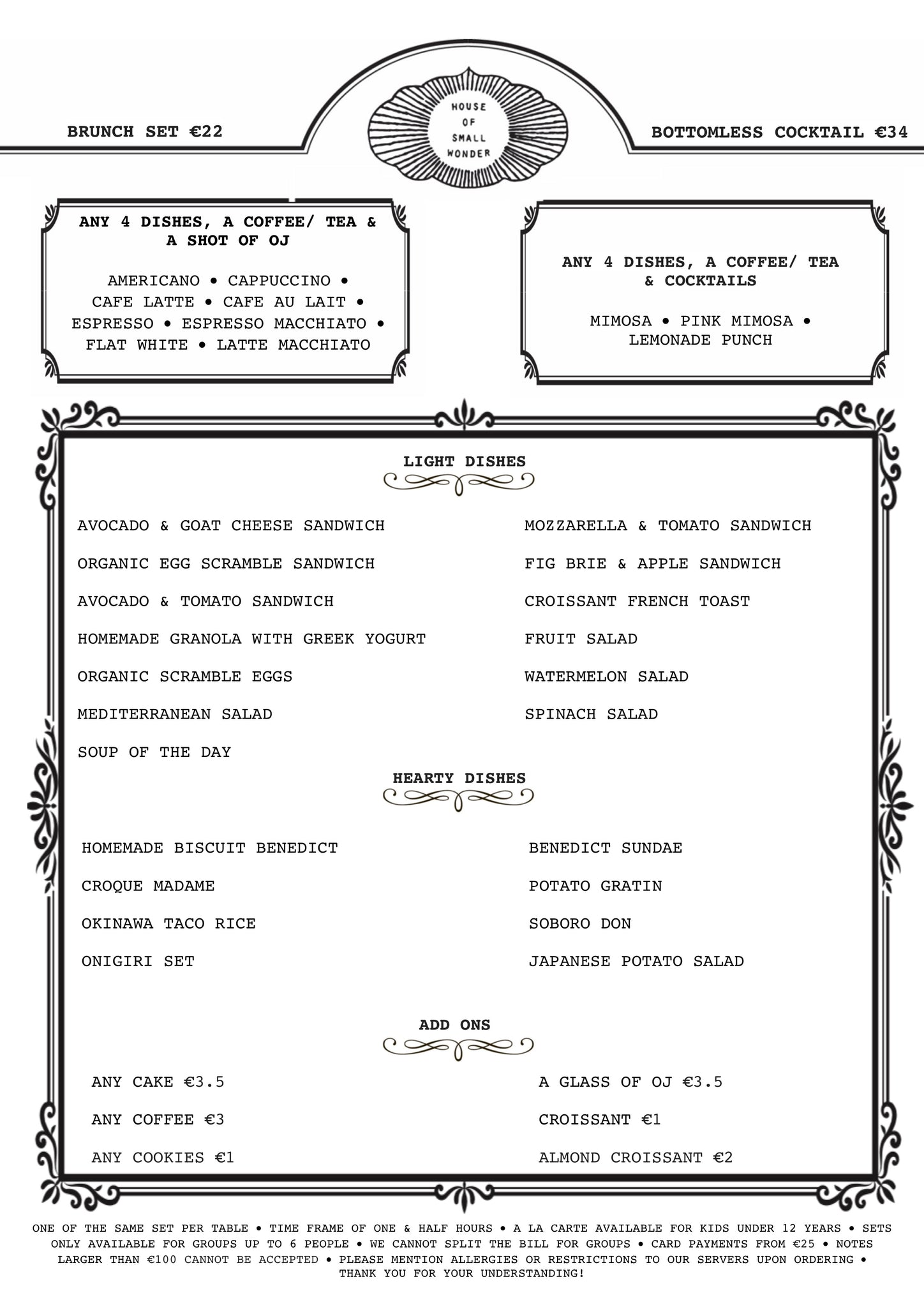 House of Small Wonder Brunch Set Menu