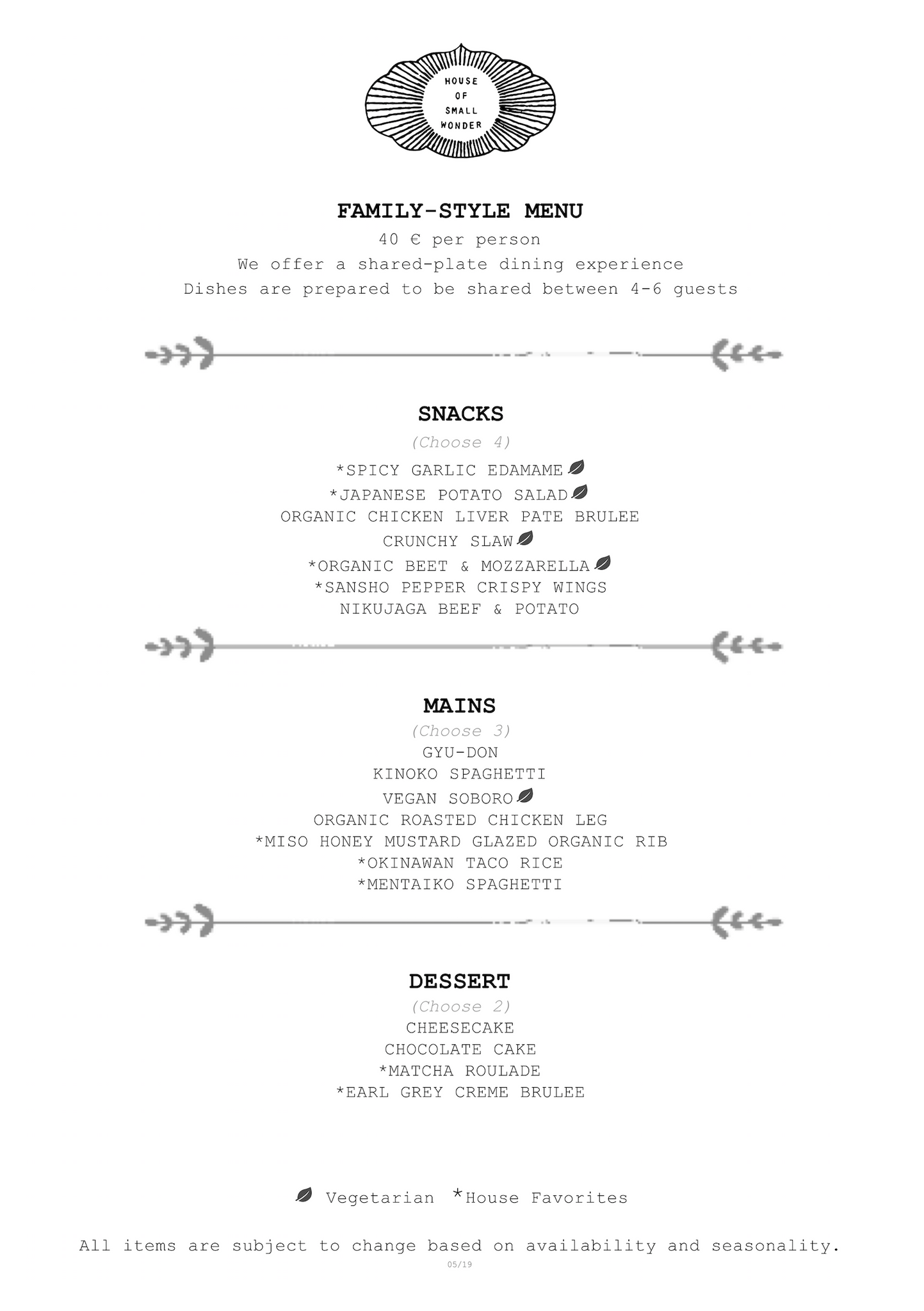 Large Group Family Style Menu