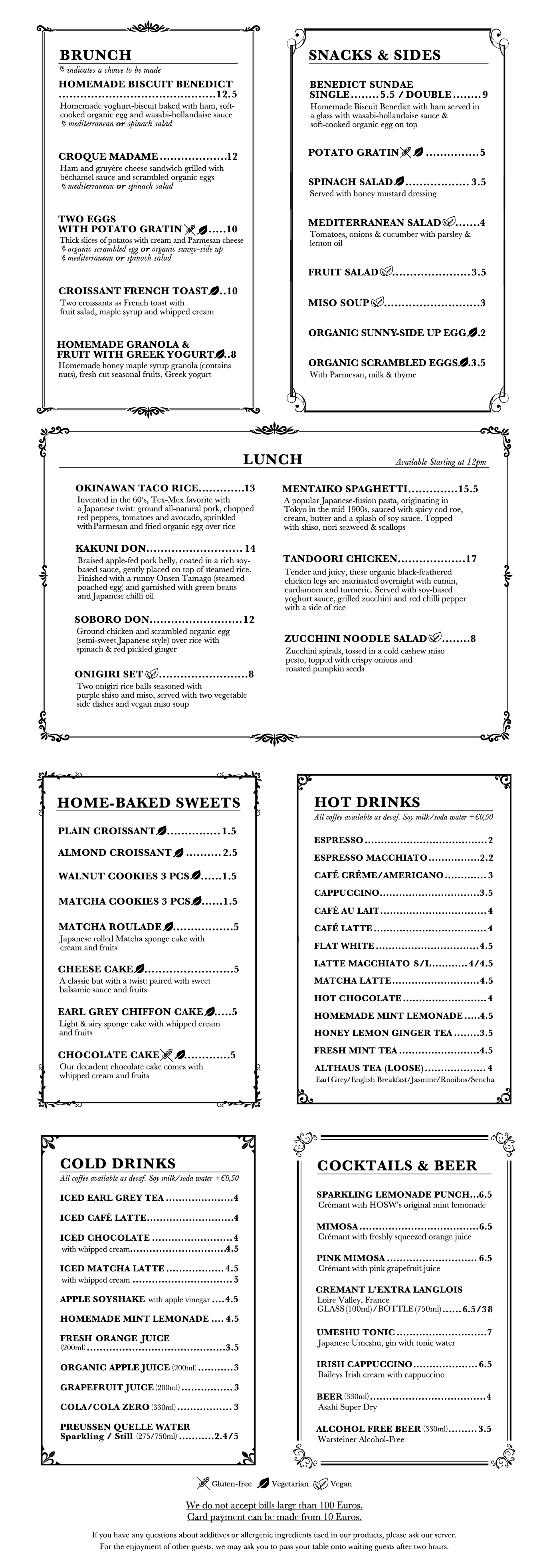 House of Small Wonder Brunch Menu