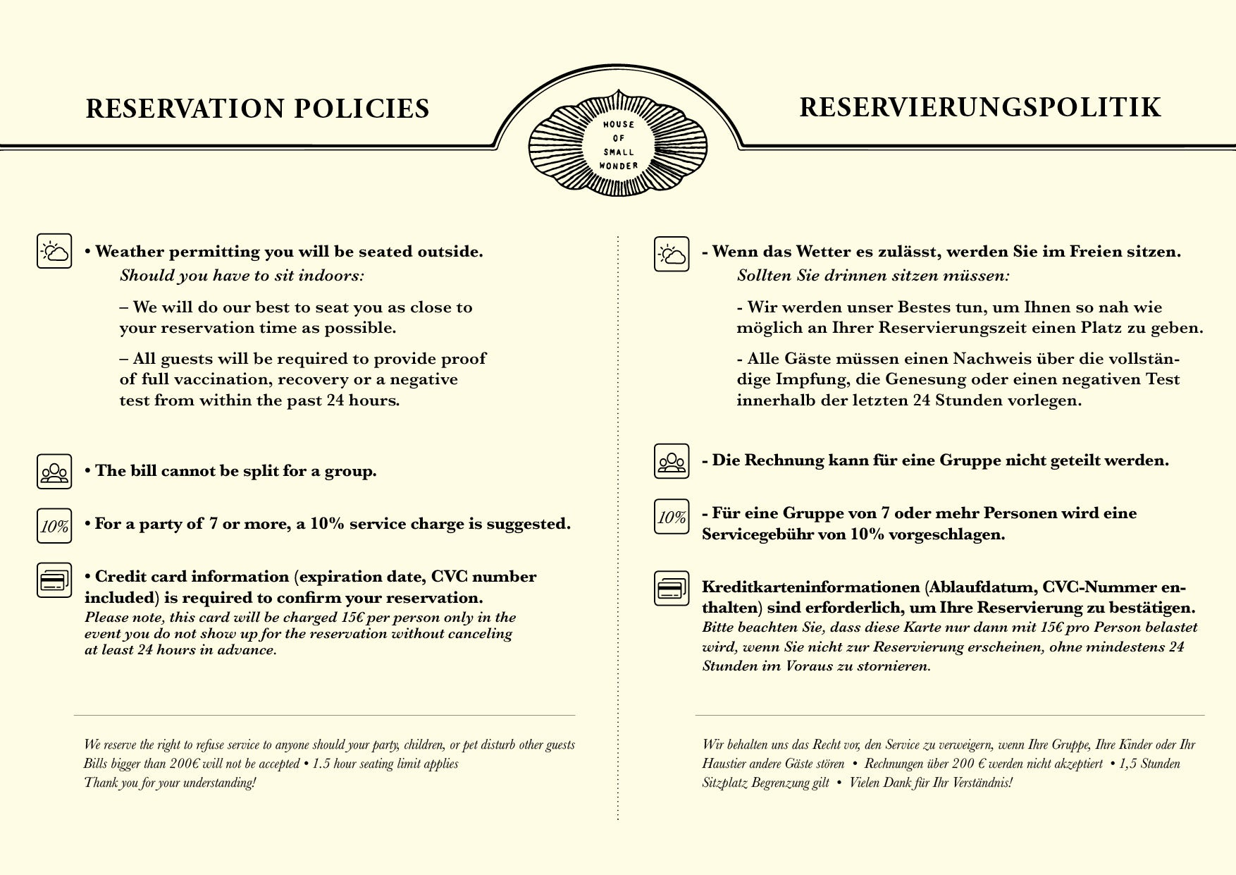 HOSW RESERVATION POLICIES