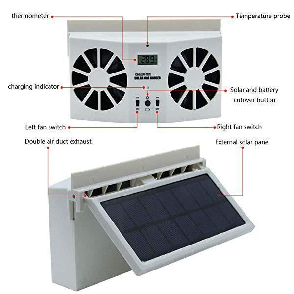 Solar Car Exhaust Heat Exhaust Fan - mftale