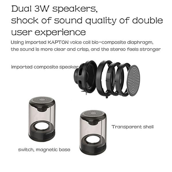 TWS Magnetic Bluetooth Speaker transparent - mftale
