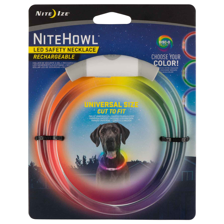 NITE IZE<br>NiteHowl Disc-O Select<br>Rechargeable LED Safety Necklace