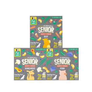 9% + FREE BROTH 🤩 PET CUBES<br>Gently Cooked for Seniors<br>Frozen Fresh Human Grade Dog Food