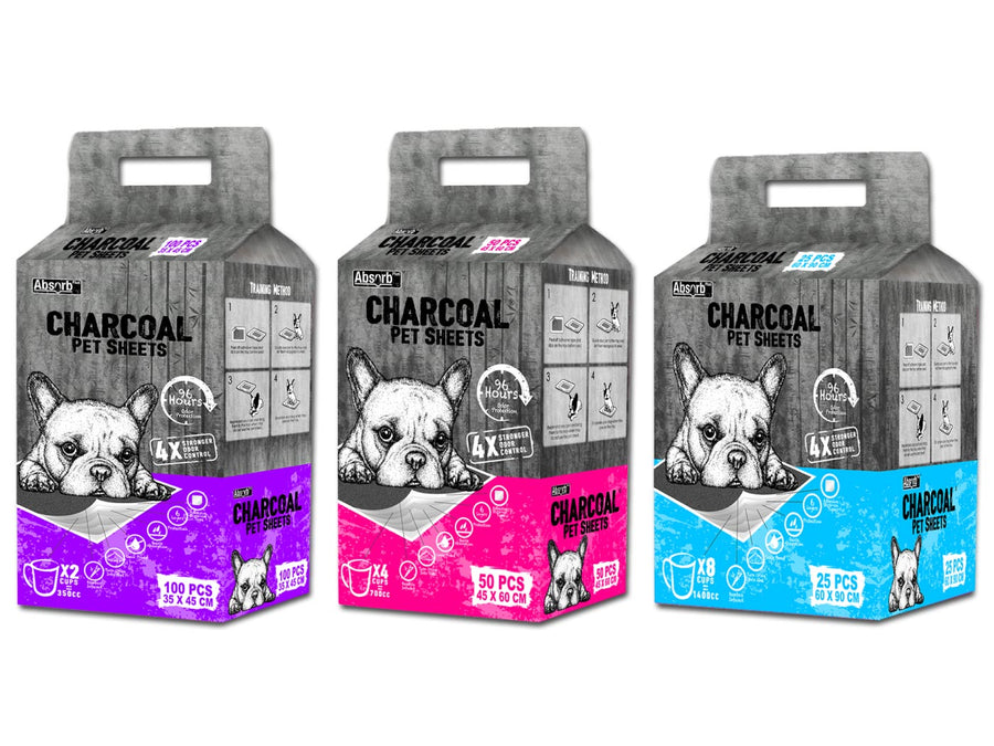 ABSORB PLUS<br>Charcoal 96hr Odour Eliminating<br>Pee Pad Pet Sheets<br>⭐️ 4 FOR $55.20 ⭐️