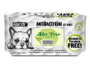 ABSORB PLUS<br>80 Antibacterial Aloe Vera<br>Wet Pet Wipes<br>⭐️ 2 FOR $7.40 ⭐️