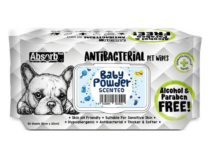 ABSORB PLUS<br>80 Antibacterial Baby Powder<br>Wet Pet Wipes<br>⭐️ 2 FOR $7.40 ⭐️
