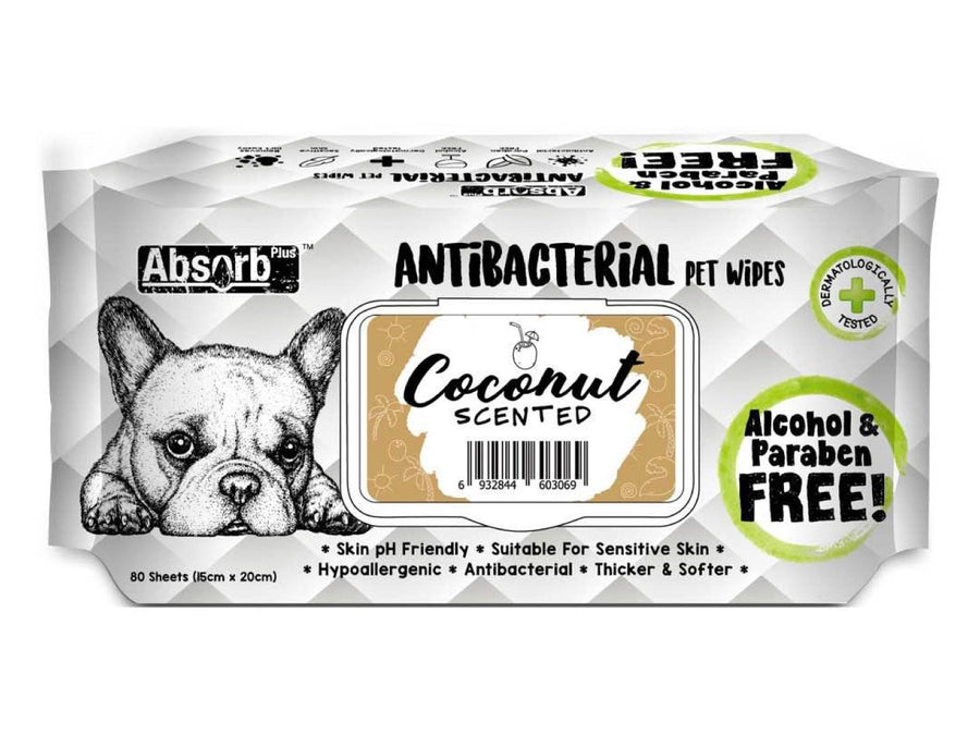 ABSORB PLUS<br>80 Antibacterial Coconut<br>Wet Pet Wipes<br>⭐️ 2 FOR $7.40 ⭐️