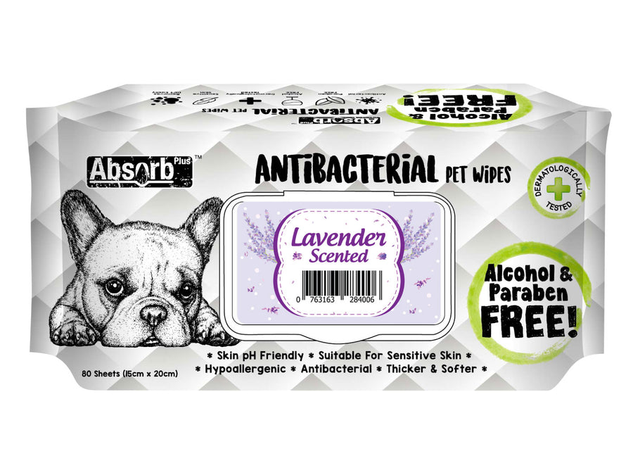 ABSORB PLUS<br>80 Antibacterial Lavender<br>Wet Pet Wipes<br>⭐️ 2 FOR $7.40 ⭐️