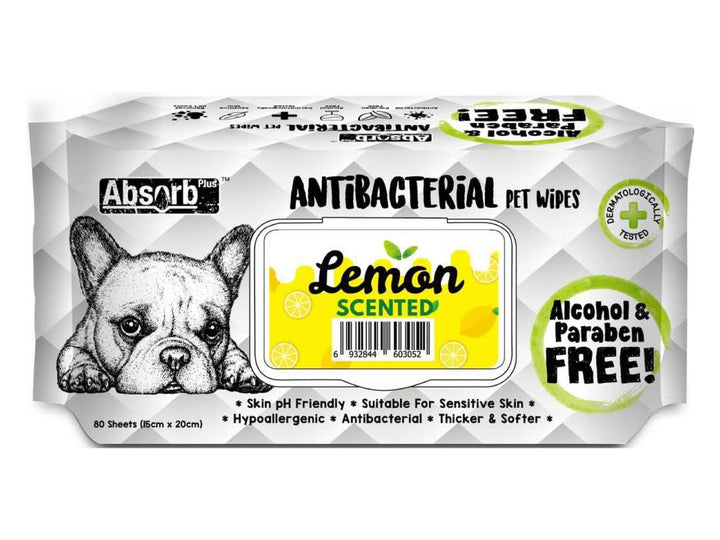 ABSORB PLUS<br>80 Antibacterial Lemon<br>Wet Pet Wipes<br>⭐️ 2 FOR $7.40 ⭐️