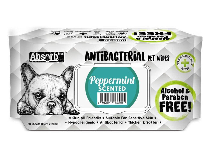 ABSORB PLUS<br>80 Antibacterial Peppermint<br>Wet Pet Wipes<br>⭐️ 2 FOR $7.40 ⭐️