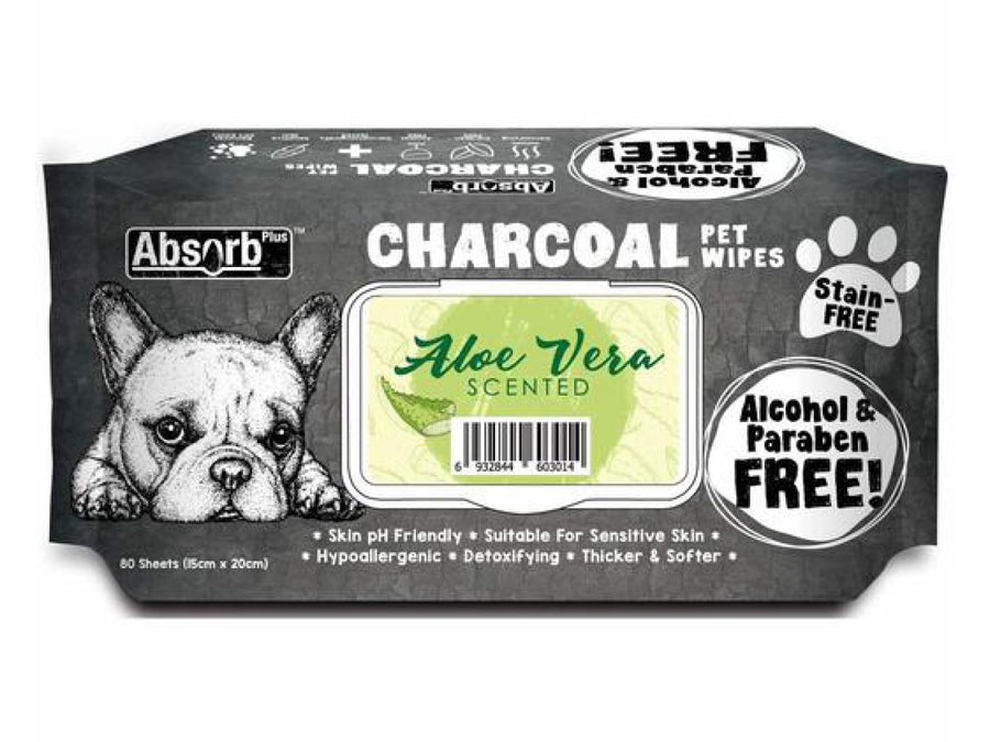 ABSORB PLUS<br>80 Charcoal Aloe Vera<br>Wet Pet Wipes<br>⭐️ 2 FOR $9.40 ⭐️