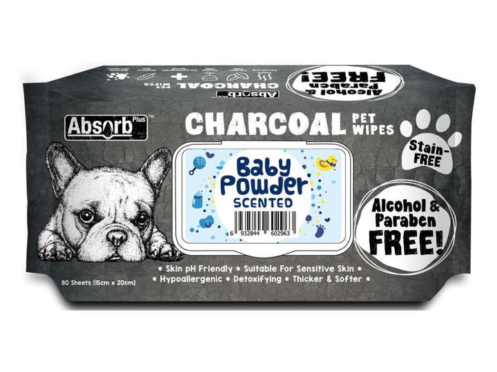 ABSORB PLUS<br>80 Charcoal Baby Powder<br>Wet Pet Wipes<br>⭐️ 2 FOR $9.40 ⭐️