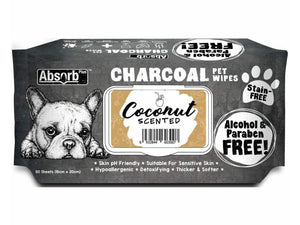 ABSORB PLUS<br>80 Charcoal Coconut<br>Wet Pet Wipes<br>⭐️ 2 FOR $9.40 ⭐️