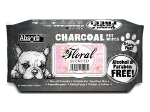 ABSORB PLUS<br>80 Charcoal Floral<br>Wet Pet Wipes<br>⭐️ 2 FOR $9.40 ⭐️