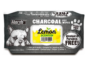 ABSORB PLUS<br>80 Charcoal Lemon<br>Wet Pet Wipes<br>⭐️ 2 FOR $9.40 ⭐️