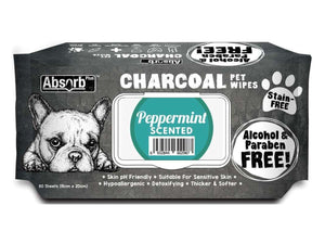 ABSORB PLUS<br>80 Charcoal Peppermint<br>Wet Pet Wipes<br>⭐️ 2 FOR $9.40 ⭐️