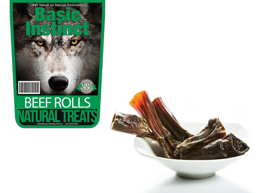 BASIC INSTINCT<br>100% Air Dried Beef Rolls<br>Dog Chew Treats