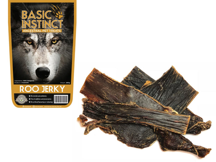 BASIC INSTINCT<br>100% Air Dried Roo Jerky<br>Dog Chew Treats