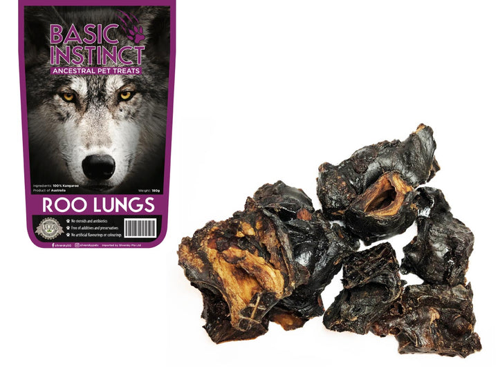 BASIC INSTINCT<br>100% Air Dried Roo Lungs<br>Dog Chew Treats