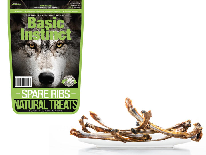 15% OFF ⏰ BASIC INSTINCT<br>100% Air Dried Veal Spare Ribs<br>Dog Chew Treats