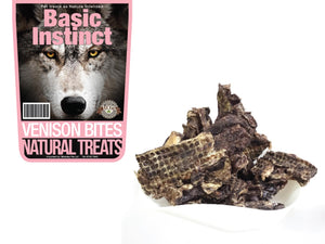 BASIC INSTINCT<br>100% Air Dried Venison Bites<br>Dog Chew Treats