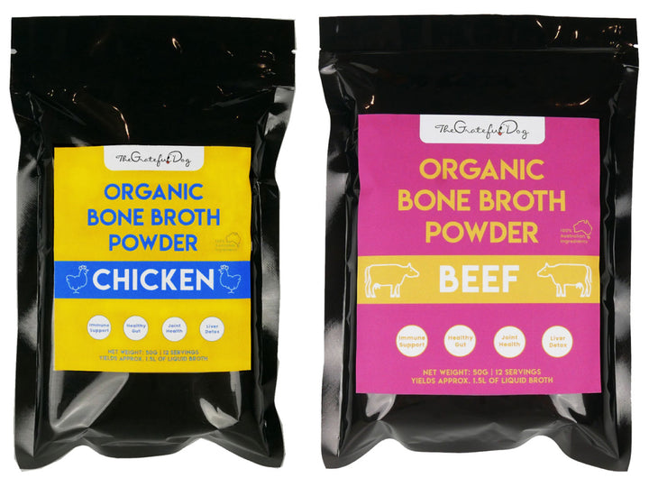 THE GRATEFUL DOG<br>Organic Bone Broth Powder<br>Beef/Chicken Soup Topper/Supplement