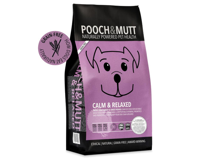 15% OFF ⏰ POOCH & MUTT<br>GRAIN FREE Calm & Relaxed Turkey<br>Dry Dog Food