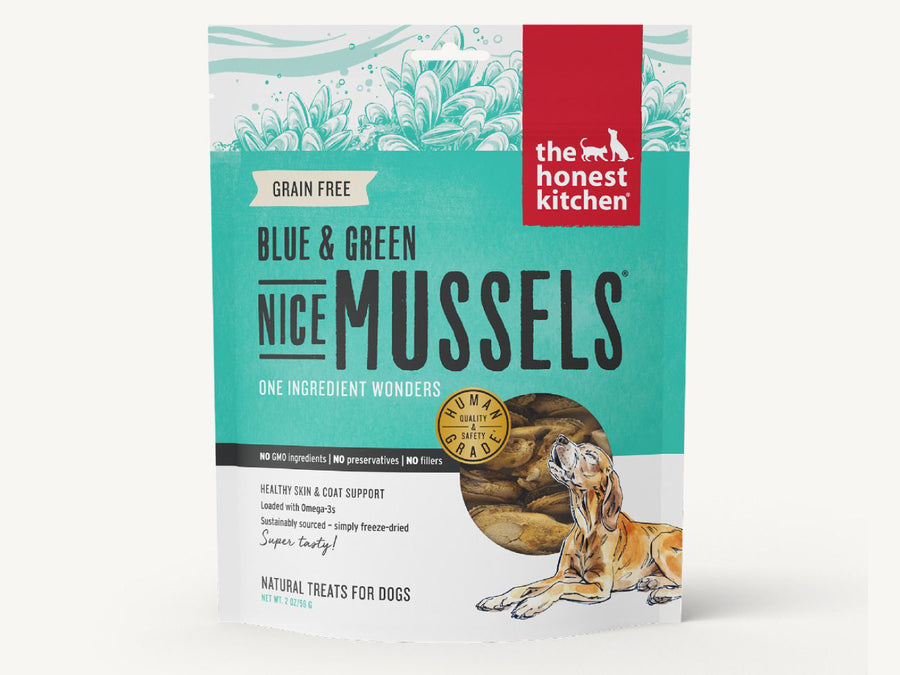 15% OFF ⏰ THE HONEST KITCHEN<br>Nice Blue & Green Mussels<br>Freeze Dried Dog Treats