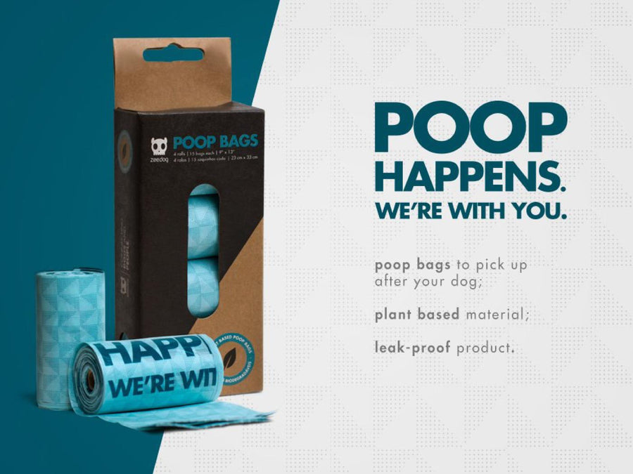 10% OFF ⏰ ZEE.DOG<br>Plant Based Poop Bag Refills<br>4 Rolls / 60 Bags