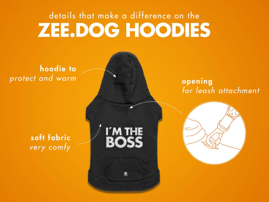 10% OFF ⏰ ZEE.DOG<br>I'm The Boss Hooded Dog Sweater