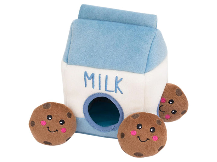 ZIPPYPAWS<br>Milk & Cookies Burrow<br>Interactive Hide & Seek Dog Plush Toy