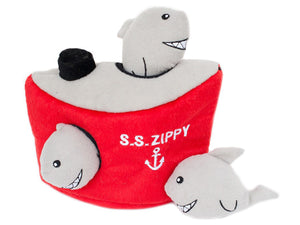 ZIPPYPAWS<br>Shark 'n Ship Burrow<br>Interactive Hide & Seek Dog Plush Toy